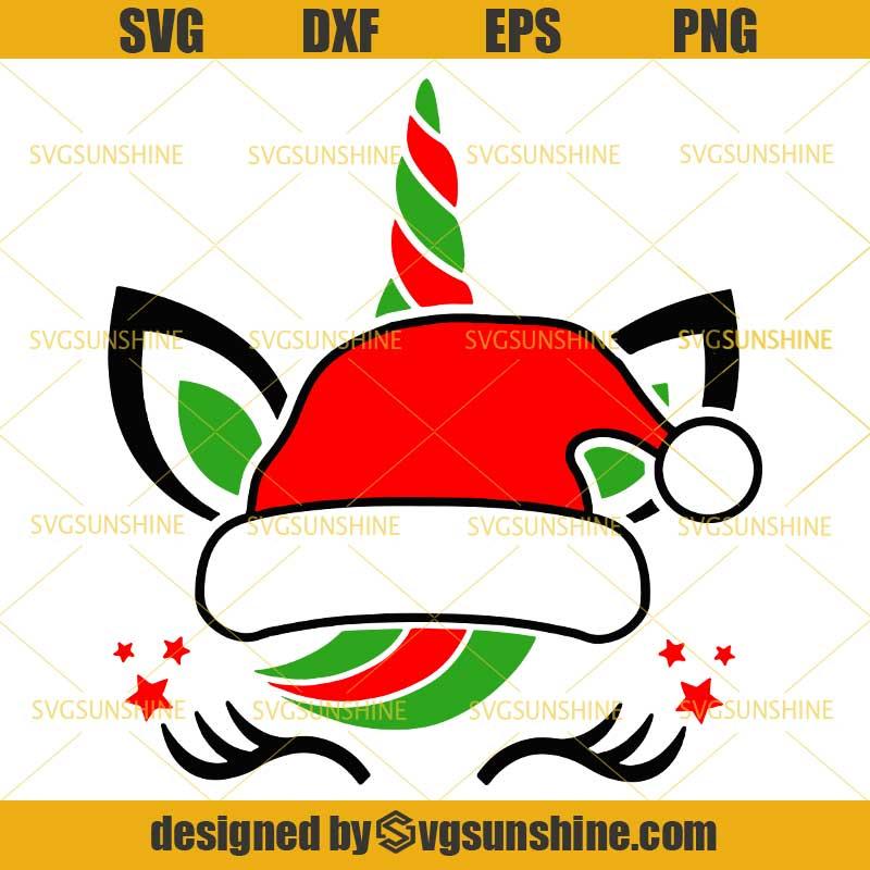 Christmas Unicorn Santa Hat Svg Png Dxf Eps Cutting File For Cricut Svgsunshine